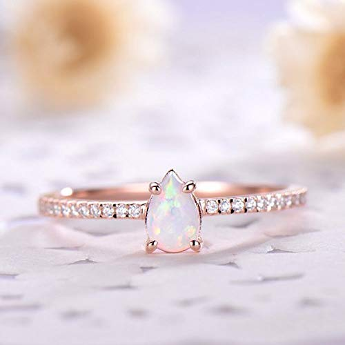 2b97bb3a910e48 Pear Shaped Cut Opal Engagement Ring CZ Diamond Half Eternity 14k Rose Gold  Solitaire October Birthstone Minimalist Simple Bridal Jewelry Set Women  Promise ...