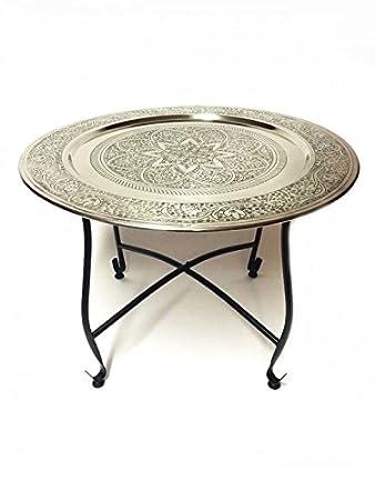 Marokkanischer Tisch Beistelltisch Aus Metall Sule ø 60cm Rund |  Orientalischer Kleiner Runder Teetisch Mit Klappbaren