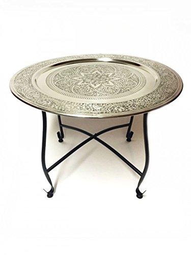 Marokkanischer Tisch Beistelltisch aus Metall Sule ø 60cm rund | Orientalischer kleiner runder Teetisch mit klappbaren Gestell in Schwarz | Das Tablett diese Klapptische ist orientalisch in Silber