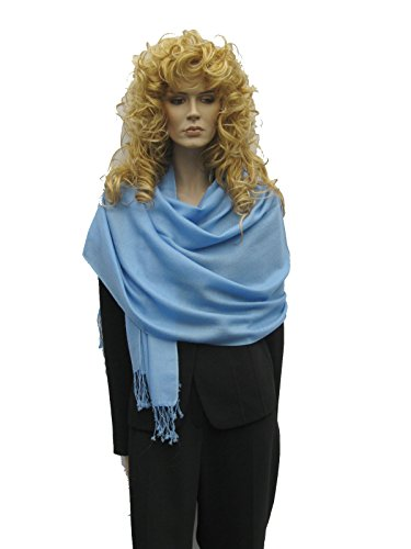 Cashmere Pashmina Group: Cashmere Pashmina Scarf/Shawl/Wrap (3-Ply Solid colors) - Sea Blue by Cashmere Pashmina Group
