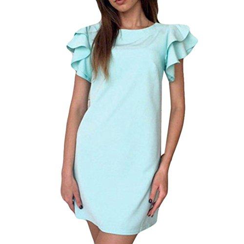 Vestidos Mujer Verano 2018,Mujeres sexy backless mariposa Vestido de manga casual vestidos mini vestido LMMVP (M, Cielo azul): Amazon.es: Belleza