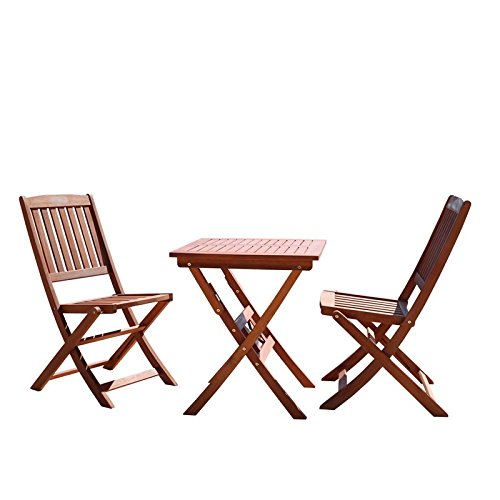 VIFAH V03SET1 Outdoor Wood 3-Piece Bistro Set, Natural Wood Finish, 24 by 24 by 27-Inch