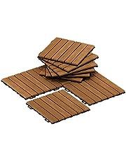 Furinno FG181034 Tioman Floor Decking Wood Tile, Natural