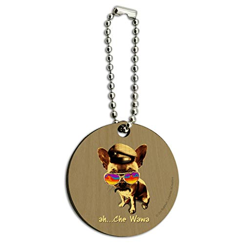 (Ah Che Wawa Chihuahua Dog Vintage Retro Wood Wooden Round Keychain Key Chain Ring)
