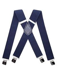 MENDENG - Tirantes de camuflaje de 5 cm para hombre con parte trasera elástica y fuerte