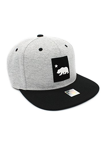 LAFSQ California Republic Bear Logo Rubber Patch Flat Bill Snapback Cap, 100% Cotton