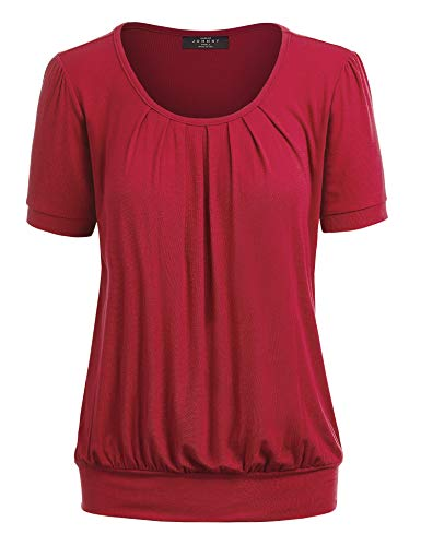 MBJ WT1175 Womens Scoop Neck Short Sleeve Front Pleated Tunic S RED ()