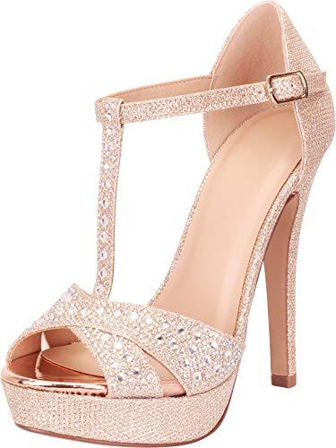 Cambridge Select Women's Open Toe T-Strap Crystal Rhinestone Platform High Heel Dress Sandal,6.5 B(M) US,Penny Shimmer ()