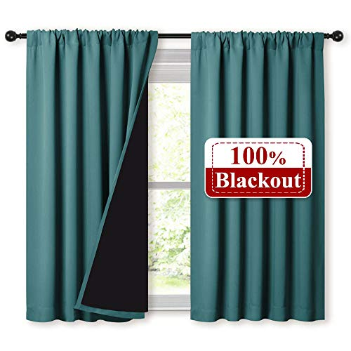 NICETOWN 100% Blackout Curtains with Black Liners, Thermal Insulated 2-Layer Lined Drapes, Energy Efficiency Small Window Draperies for Dining Room (Sea Teal, 2 Panels, 52 inches W by 45 inches L) (Teal Curtains Lined)