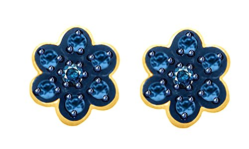 Round Cut Blue Natural Diamond Flower Stud Earrings In 14K Yellow Gold Over Sterling Silver (0.02 Ct)