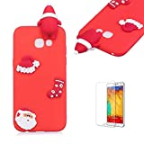 Cute Cartoon Case For Samsung Galaxy A7 2017,Funyee Stylish 3D Christmas Santa Claus Design Ultra Thin Soft TPU Silicone Case for Samsung Galaxy A720/A7 2017,Anti-scratch Rubber Durable Shell Smart Phone Case with Free Screen Protector,Red