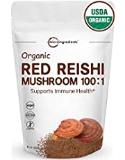 Organic Reishi Mushroom Powder, 8 Ounce, 227 Servings, 100:1 Extract with Active 30% Polysaccharides, Supports Immune Health, Non-Irradiated, Non-GMO & Vegan Friendly