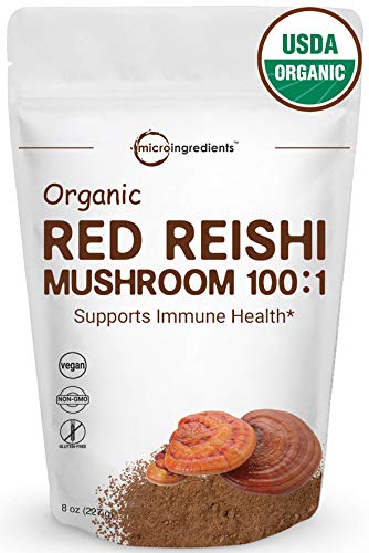 Organic Reishi Mushroom Powder, 8 Ounce, 100:1 Extract with Active 30% Polysaccharides, Powerfully Supports Immune Health & Antioxidant, Best Superfoods for Smoothie and Drinks, Vegan Friendly