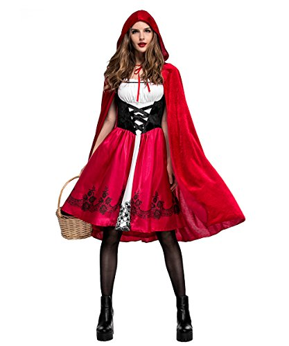 Halloween Costume Women's Little Red Riding Hood Cosplay Costume Hooded -