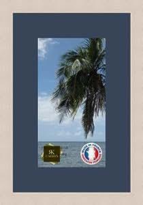 Marco de fotos de pared 17 x 17 x 31 x 31 cm, marco plateado moderno, 2,3 cm de longitud, de madera, madera, Blanc Cassé-13, Passe-Partout Bleu Fonce