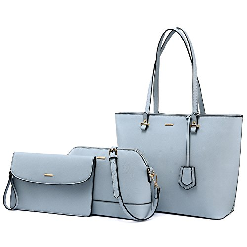 Purses and Handbags Designer Handbags for Women Tote + Crossbody + Envelope 3 Purses Set (Gray Blue) by LOVEVOOK