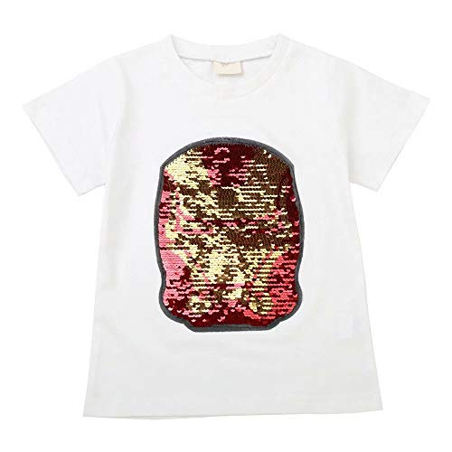 Tsyllyp Boys Kids Iron-Man Magic Sequin Short Sleeve T-Shirt Halloween Costume -