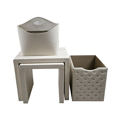 Instant Mosaic 50101 Off White Leatherette Side Tables and Storage Accessories (Set of 4) by Instant Mosaic