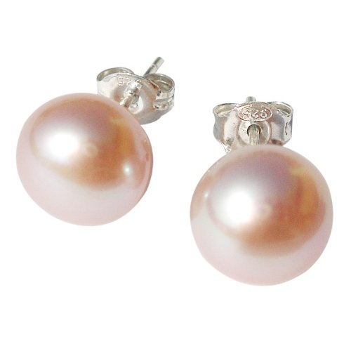 10mm Soft Lilac Cultured Pearl Silver (925) Stud Earrings by Pearls Paradise