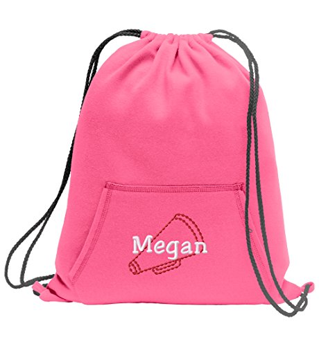 Cheer Megaphone Personalized - Sweatshirt Cinch Bag With Front Pocket (Neon Pink) -