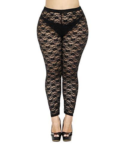 CURRMIEGO Women's Plus Size Stretchy Lace Pattern Capris Leggings Tights (US 1X/2X Plus) Black