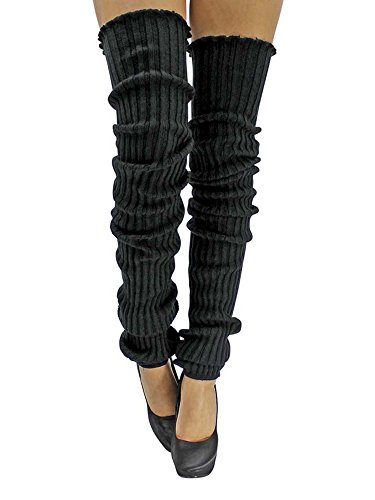 Acrylic Warmers Leg (Black Slouchy Thigh High Knit Dance Leg Warmers)