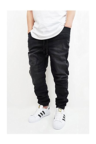 MEN'S BLACK DENIM DROP CROTCH JOGGER PANTS (L)