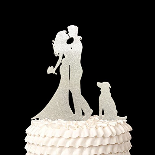 Wedding Anniverary Family Cake Topper Bride Groom with One Dog A Dog (Glitter Silver) Bride Groom Cake
