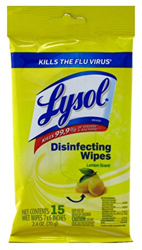 Lysol Disinfecting Wipes Lemon Scent 15ct in Resealable Trav
