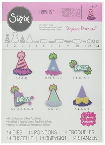 Sizzix 661117 Party Hats Triplits Die Set by Stephanie Barnard (14/Pack) (Cuts Party Die Hat)