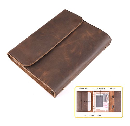 Home-organizer Tech Handmade Leather Writing Unlined Paper Journal Notebook Daily Notepad Travel to Write in, with 1 pen slot, a A6 PVC pouch, 2 Card Bits and 1 EXTRA Built-in Compartment Pouch (Wars Album 2017 Star Christmas)