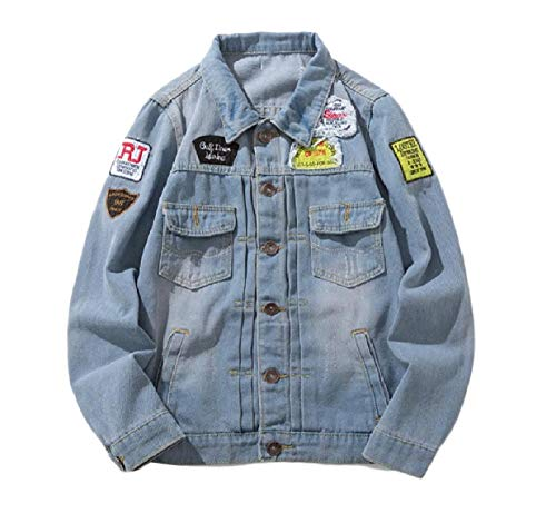 Patches Breasted Single Hop Hip XINHEO Coat Fashion Blue Mens Denim Jacket Ugqwp0x