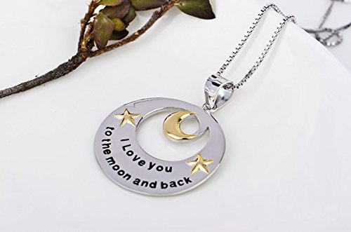 """TRSUPER 925 Sterling Silver Two Tone """"I Love You to the Moon and Back"""" Star & Moon Pendant Necklace 18"""""""