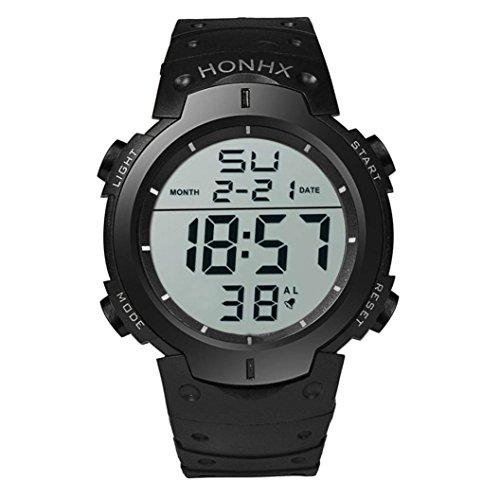 200m Gents Watch (Sport Wrist Watch, Kinrui Fashion Rubber Waterproof Men's Boy LCD Digital Stopwatch Date (Black))