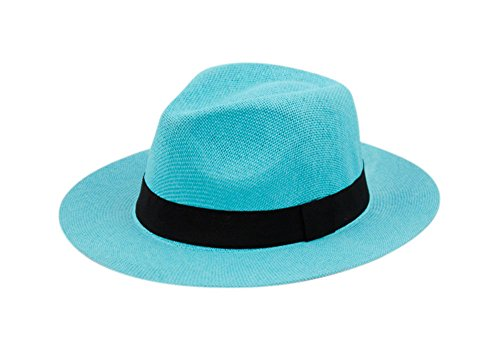 Wide Brim Paper Straw Fedora, Classic C Crown Panama Sun Hat with Grosgrain Band and Adjustable Drawstring (One Size Fits Most) (Turquoise)