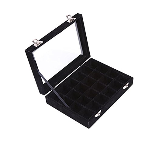 Ivosmart 24 Section Velvet Glass Jewelry Ring Display Organiser Box Tray Holder (Stylish Black Wooden Box)