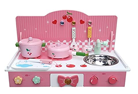 Classic Wooden Kitchen Toy Pretend Cooking Kids Children Role Play Set with Accessories by Oye Hoye - pink,white