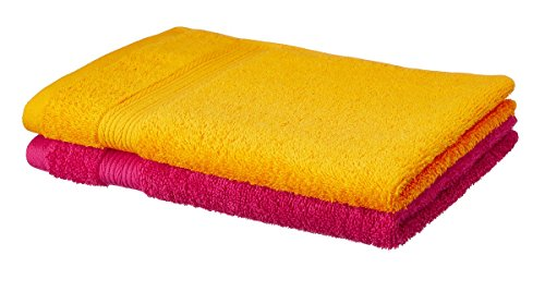 Solimo 100% Cotton 2 Piece Hand Towel, 500GSM (Sunshine Yellow and Paradise Pink)