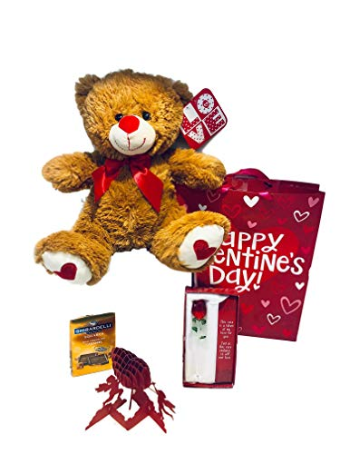 (Valentines Premium Gift Basket | Chirandelli Chocolate | 12 Inch Teddy Bear Plush | Gift Bag | 3D Cupids Card | Glass rose Flower Sweetheart Love for Mother Daughter and Friend | Gift Basket)