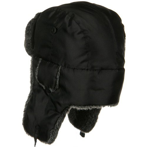 Nylon Oxford Trooper Hat - Black