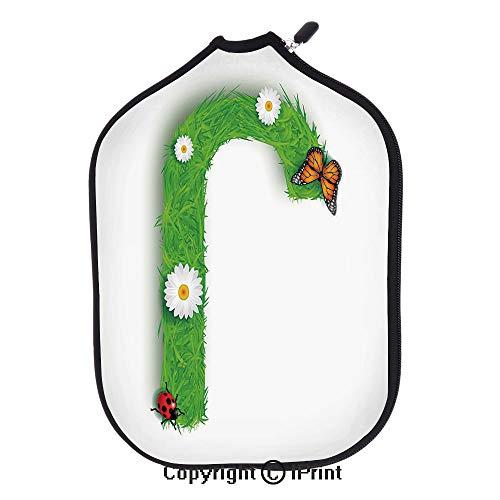 Soft Neoprene Pickleball Paddle Cover Zipper Sleeve Protective Case,Grassland Stylized J Letter Organic with Botanical Beauty Effects Animals Decorative(size:8.23