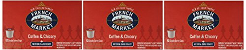 French Market Coffee, Single Serve K-Cups, Medium Dark Roast Coffee and Chicory, 4.9oz Box (Pack of 3)