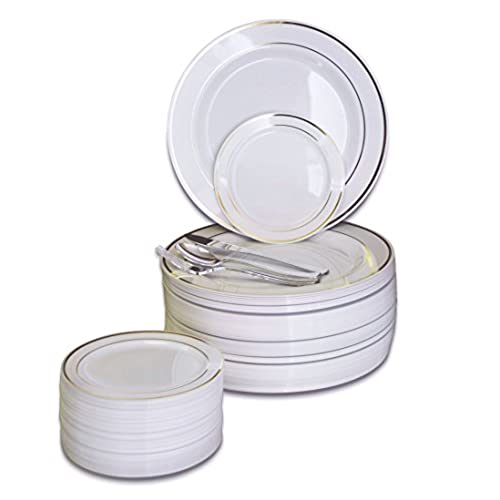 Wedding supplies amazon occasions 300 pcs 60 guest wedding disposable plastic plate and silverware combo set white gold trim plates silver silverware junglespirit Images