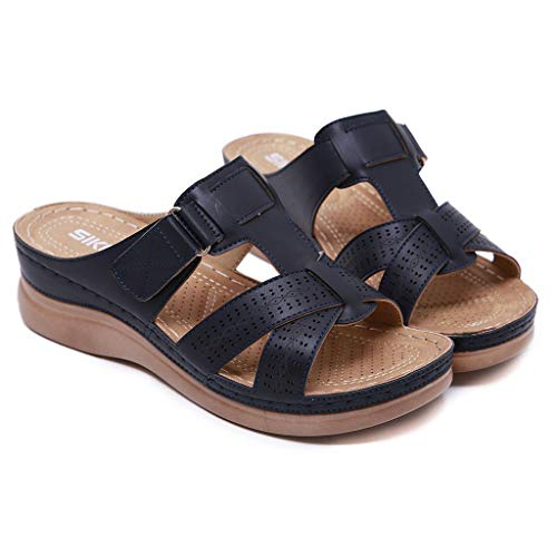 d4cdc26d396d7 Wkgre Women Summer Slippers Flatform Studded Wedge Buckle Ankle Strap Open  Toe Hook Loop Comfy Casual Non-Slip Sandals (9, Navy)