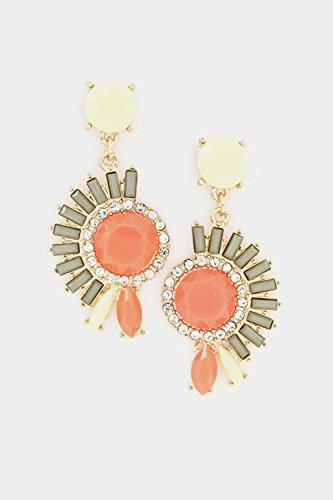 By Tarantino Heart Tarina Necklace (Karmas Canvas Faceted Stone Floral Crystal Accent Dangle Earring (Orange))