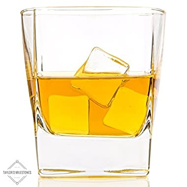 10.5 oz Scotch Glasses by Taylor'd Milestones. Whiskey Glass Set Includes 2 Old Fashioned Tumblers. Diamond Etched, On The Rocks Glassware for Home Bar & Everyday Use.