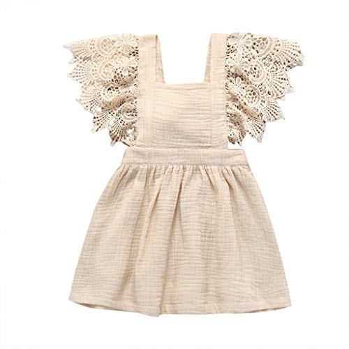 (Beige, 6-12 Months,Label Size:80) White Baby Dress, Purple Flower Girl Dress, Baby Girl Dresses 9-12 Months, Baby Girl Easter Dress, Kids Dress Up ()