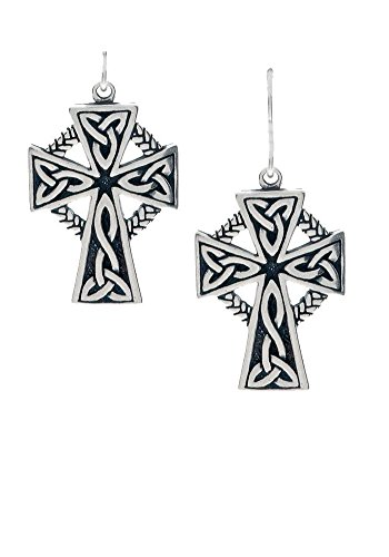 - Jewelry Trends Sterling Silver Celtic Cross with Circle of Life Dangle Earrings
