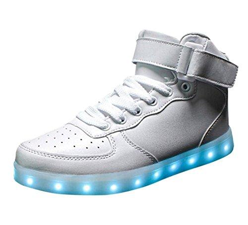 (Present:kleines Handtuch)JUNGLEST Unisex 7 Farbe Farbwechsel USB Aufladen LED Leuchtend High-top Sport Schuhe Hoch Sneaker T Weiß