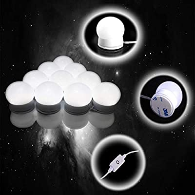 WOHA Vanity Mirror Hollywood Style LED Lights Kit with Three Light Modes and 10 Dimmable Light Bulbs Dimmer Memory for Bathroom, Makeup Dressing Table (White/Neutral/Warm Light) …